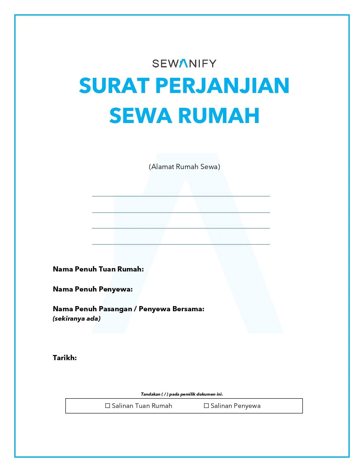 Muka Hadapan - Surat Perjanjian Sewa Rumah 2021 | Tenancy Agreement Malaysia