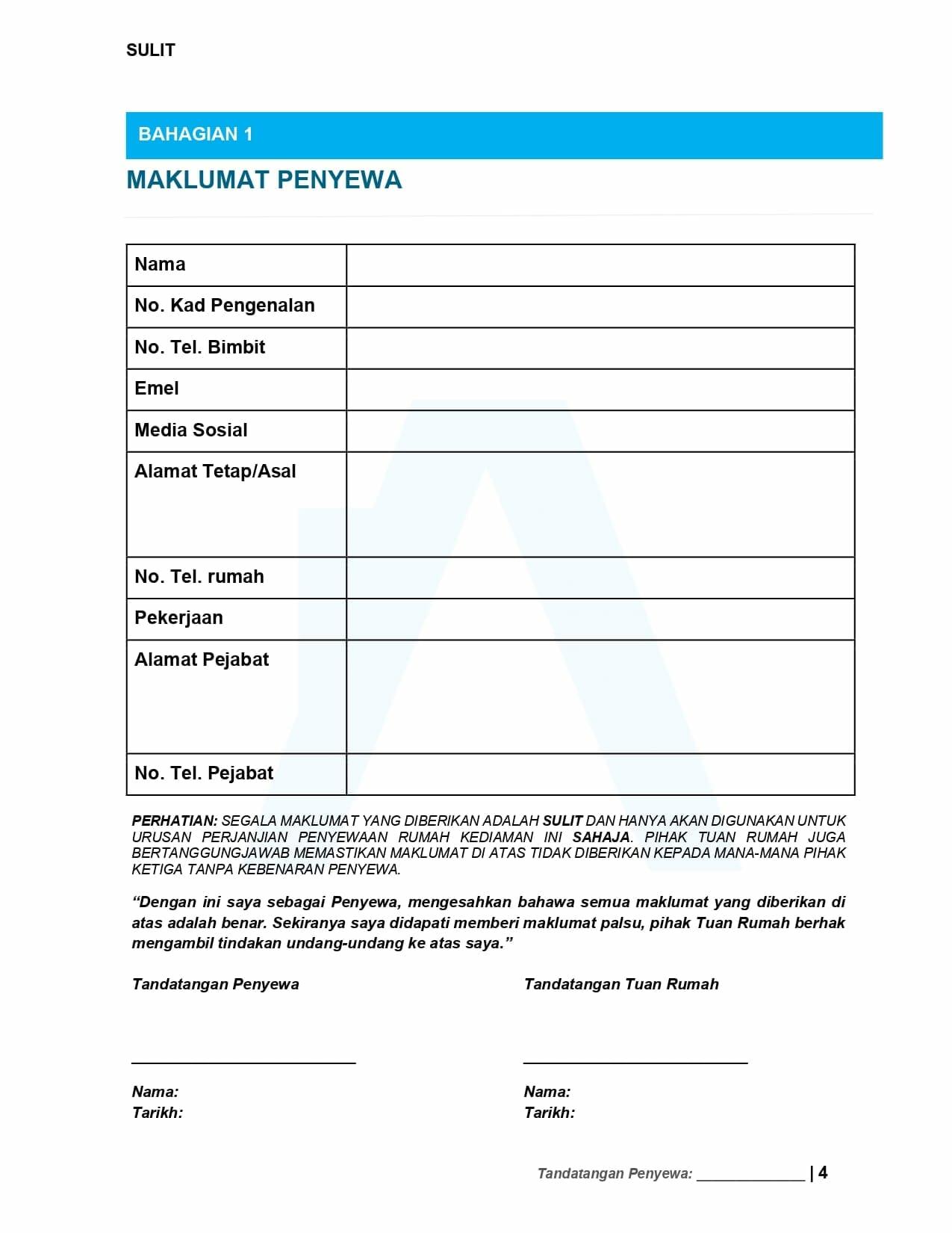 Maklumat Penyewa - Contoh Surat Perjanjian Sewa Rumah 2021 | Tenancy Agreement Malaysia