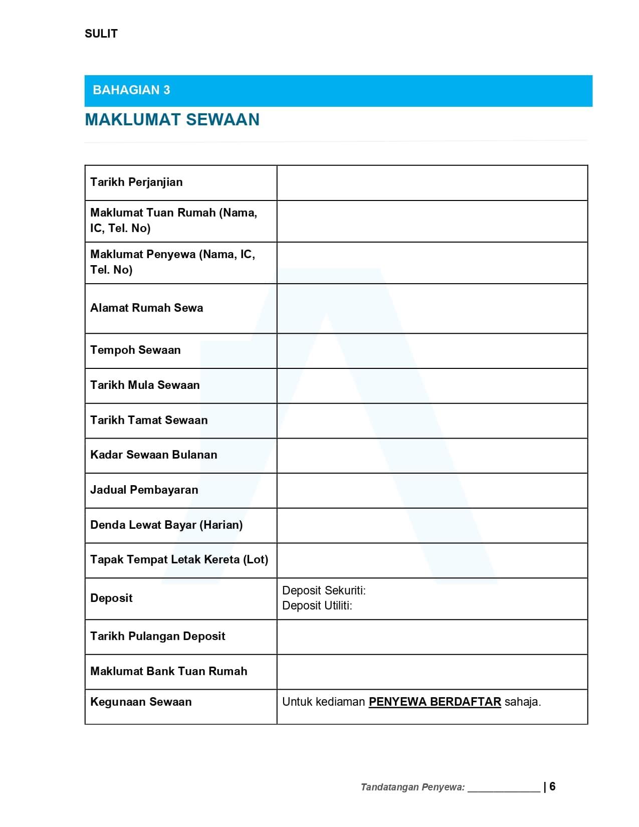 Maklumat Sewaan - Surat Perjanjian Sewa Rumah 2021 | Tenancy Agreement Malaysia