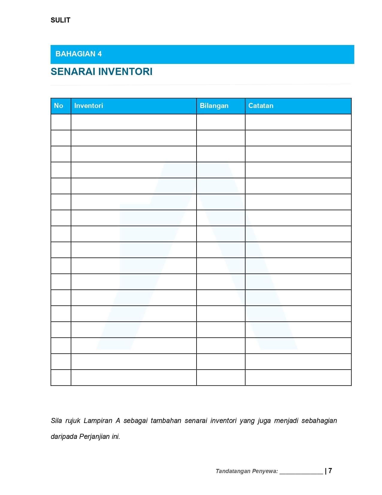 Senarai Inventori  - Contoh Surat Perjanjian Sewa Rumah 2021 | Tenancy Agreement Malaysia