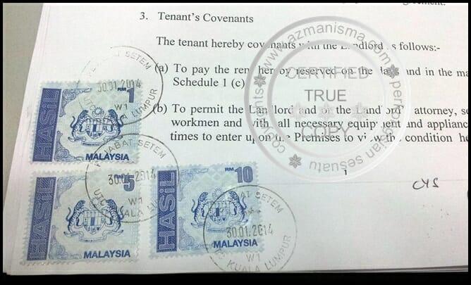 contoh surat perjanjian sewa rumah , tenancy agreement Malaysia